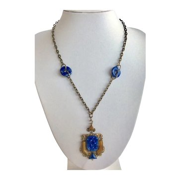 Czech Blue Lapis Glass Filigree Pendant Necklace