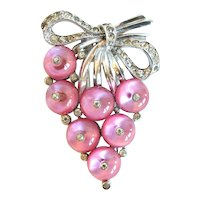 "Crown Trifari Pink Glass ""Shoe-Button"" Clip, 1938"