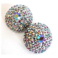 Hot Pink and Silver-tone Aurora Borealis Earrings