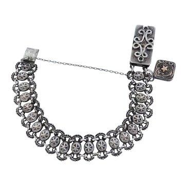 Antique Victorian Etruscan Revival  Repoussé Bracelet with Charm
