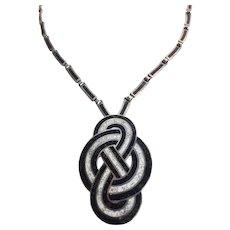 Striking 1950s  Margo de Taxco Convertible Enamel & Sterling Pendant Necklace/Pin