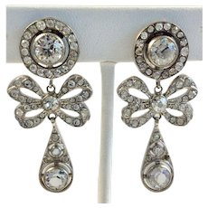 Clear Rhinestone Deco Dangle Bow Earrings