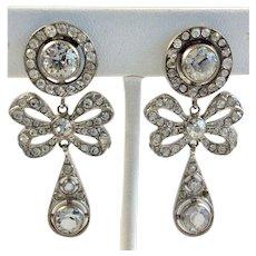 Clear Rhinestone Deco Dangle Bow Earrings