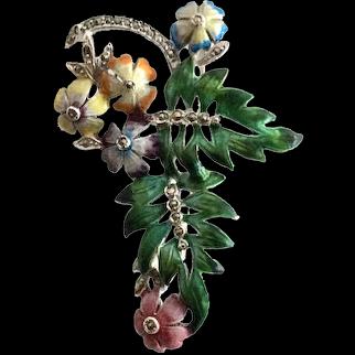 BJL Floral Enamel and Marcasite Vintage Brooch