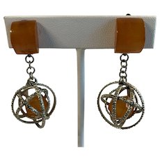 Butterscotch Galalith  Mid Century Atomic Model  Earrings