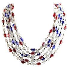 Two Vintage Czech Crystal Long Matching Necklaces, One Blue and One Red