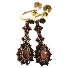 German Vintage Bohemian Garnet  Earrings