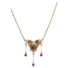 """10 Karat Yellow Gold"" Vintage Filigree Pendant Necklace with Dangles"