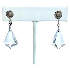 Deco Geometric Faceted Crystal Dangle Earrings