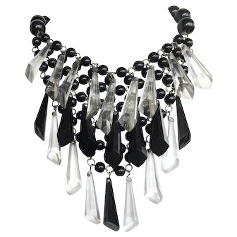 Black and Clear three Tier Acrylic Lucite Dangle Bib Necklace