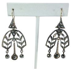 Cut Steel  Arts and Crafts c. 1900 Dangle Earrings