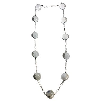 Antique Rock Quartz Crystal Sterling Silver Pools of Light Necklace