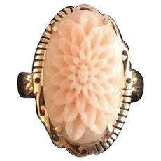 18 Karat Carved Natural Angel Skin Coral Antique Ring