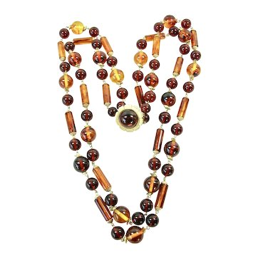 Fabulous Mid-Century Double Strand Bakelite Necklace