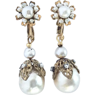Miriam Haskell Simulated Baroque Pearl Dangle Earrings