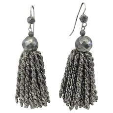 Antique Cut Steel Victorian Bead Tassel Earrings