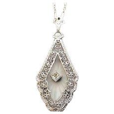 14 Karat White Gold Art Deco/Edwardian Era Camphor Glass Diamond Pendant Necklace