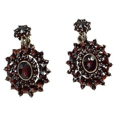 Bohemian Sterling Vermeil Garnet Dangle Earrings