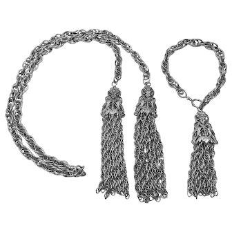 Renaissance Revival Lariat Chain & Tassel Necklace & Bracelet