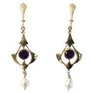 14 Karat Yellow Gold Amethyst and Cultured Fresh Water Pearl Victorian Revival Earrings