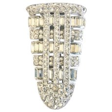 Art Deco 1930s Clear Rhinestone Dress Clip, Wedding Worthy