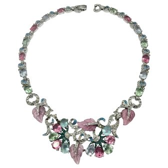 Unsigned 1940s Vintage Mazer Pastel Fruit Salad Necklace