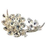 EISENBERG ICE Vintage Intricate Clear Rhinestone Floral Brooch Pin, Wedding Worthy