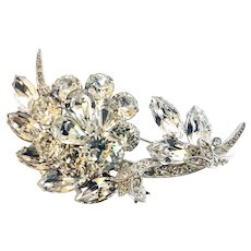 EISENBERG ICE Vintage Intricate Clear Rhinestone Floral Brooch Pin, Wedding Worthy