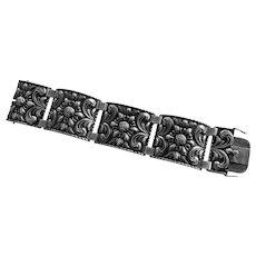 830 Silver Wide Vintage Repoussé Scandinavian or German  Bracelet