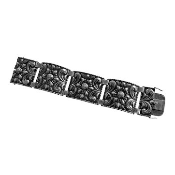 830 Silver Wide Vintage Repoussé Scandinavian or German  Bracelet