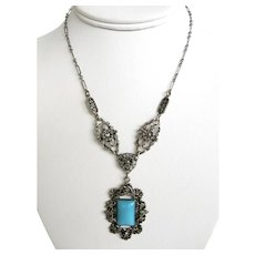 Czech Turquoise Glass Pendant Necklace with Marcasites