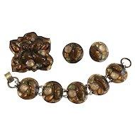 Ruth Buol Mid-Century Enamel  Bracelet, Pin Earrings Parure