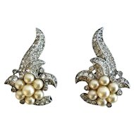 Crown Trifari Empress Eugenie Earrings, c. 1940