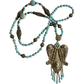 1930's Czech Filigree and Turquoise-Blue  Art Glass Pendant Necklace
