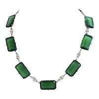 Emerald Green Glass 1930s Filigree Necklace