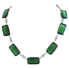 Emerald Green Glass 1930s Filigree Necklace