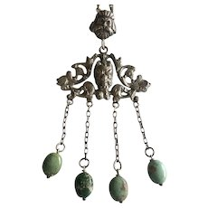 Italian Renaissance Revival Pendant Necklace with Green Turquoise Dangles