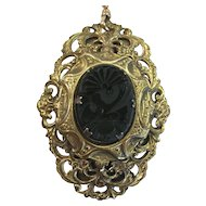 Late Victorian Brass Filigree Pin/Pendant on watch fob