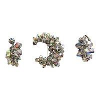 Vintage Aurora Borealis Crystal Pin and Dangle Earrings Set