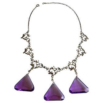 835 Silver Vermeil Czechoslovakia Necklace with Violet Purple Glass Dangles