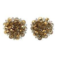 HOBÉ Amber-golden Hue Aurora Borealis Crystal Earrings
