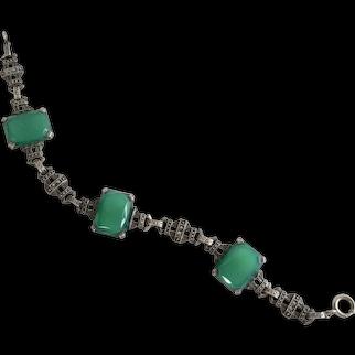Art Deco Sterling Chrysoprase Bracelet with Marcasites