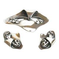 Danish 925 Sterling Stil Modernist  Pin & Earring Set