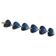 Kaye Denning  Modernist  Blue Enamel Vintage Bracelet