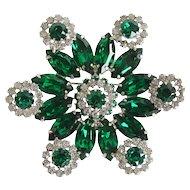 Weiss Green Marquis Rhinestone Pin