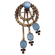 1940s Retro Style Blue Moonstone Glass GF Brooch by CR Co.