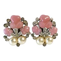 Crown Trifari Pink Fruit Salad 1940s Earrings with Imitation Pearls