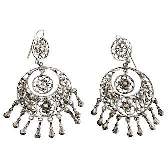 800 Silver Filigree Hoop Earrings with Cut Steel Elements