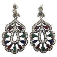 Jewel Tone Vintage Moghul / Mogul Style Dangle Earrings
