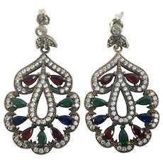 Jewel Tone Vintage Moghul / Mogul Style Dangle Earrings